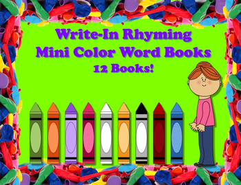 Write-In Rhyming Mini Color Word Books - 12 Books!