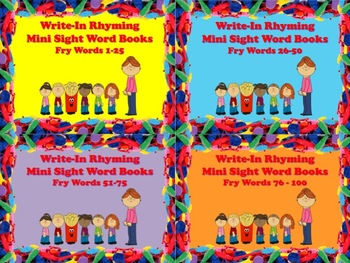 Write-In Rhyming Mini Sight Word Books Fry Words 4 Sets Bu