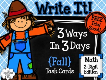 Fall Math Task Cards {2-Digits} ~ Write It! ~ 3 Ways in 3