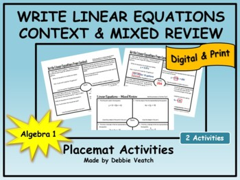 Write Linear Equations In Context & Mixed Review Placemat
