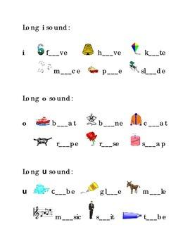 Write Long Vowels a e i o u  Kindergarten Fill in the Blan