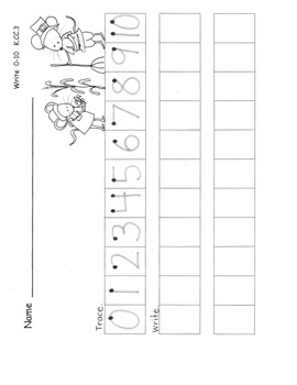 Write Numbers to 10 Thanksgiving Theme Common Core Aligned 3 pgs