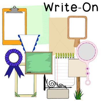 Write On Clip Art PNG JPG Badge Commercial Personal Blackl
