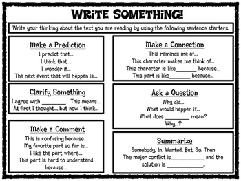 Write Something! Sentence Starters and Graphic Organizer f