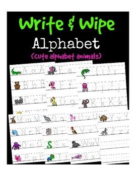 Write & Wipe Alphabet (Animals, trace practice, zoo)