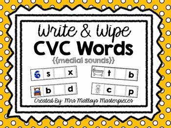Write & Wipe CVC Words {{medial sounds}}