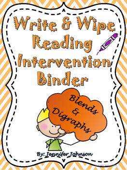 Write & Wipe Reading Intervention Binder 4 Blends & Digraphs