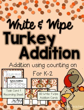 Write & Wipe Turkey Addition--Addition Center Using Counti