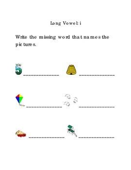 Write Words with Long Vowel i Kindergarten Phonics Sight Words