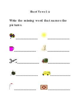Write Words with Short Vowel U Kindergarten Phonics Sight Words