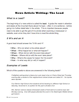 """Write a Lead"" Worksheet for Journalism Class - Learn to W"