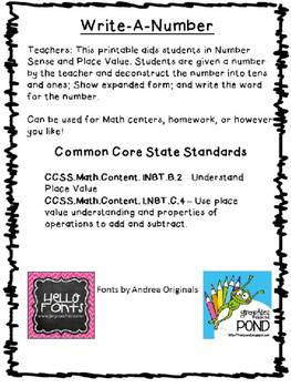 Write a Number - Place Value - CCSS - Printable Worksheet