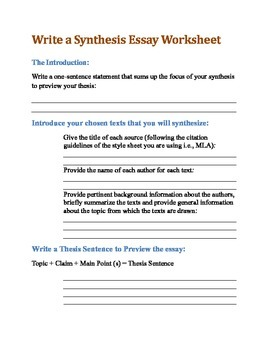 Write a Synthesis Essay Worksheet