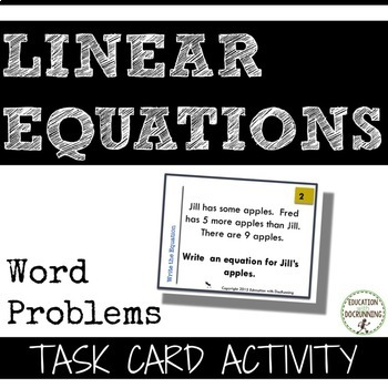 Writing Linear Equations for Word Problems Task Card Activity