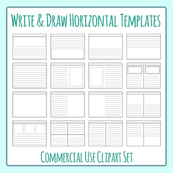 Write and Draw Story Worksheet Templates Horizontal Clip A