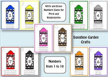 Write and Erase Numbers Game for Pre-k and Kindergarten