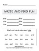 Literacy Write and Find Three Letter Sight Words