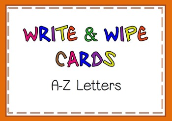 Write and Wipe Cards A-Z letters
