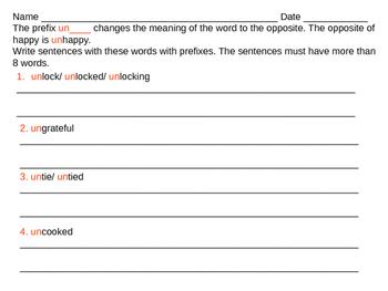 Write sentences with prefix un.