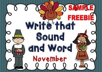 Write that Sound and Word - November { Sample Freebie }
