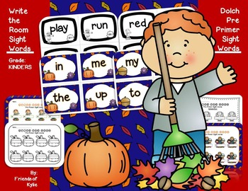 Write the Room Pre Primer Sight Words AUTUMN