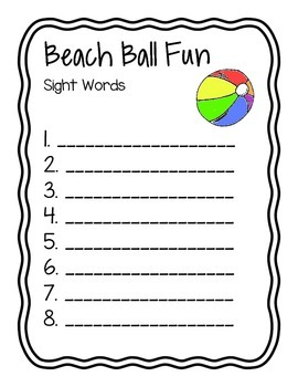 Beach Ball Fun! Write the Room with Sight Words