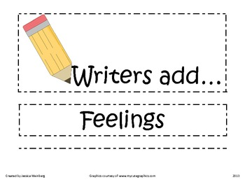 Writers Add Characters, Setting, and Feelings
