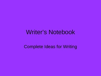 Writer's Notebook Editing and Revising Strategies