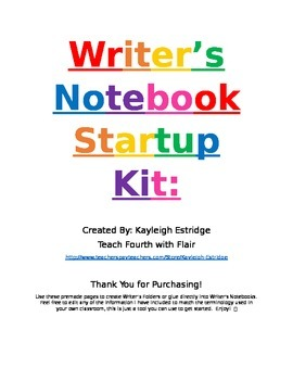 Writer's Notebook Startup Kit