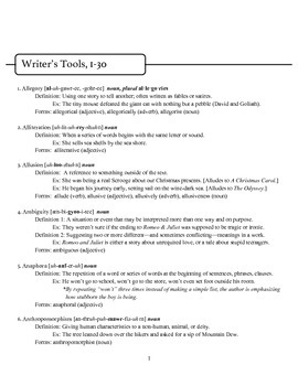 """Writers' Tools"":  Rhetorical Devices and Figurative Language"