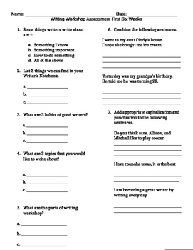 Writers Workshop Assessment