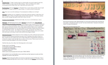 Writer's Workshop Lesson Plan/TC Format: Using Onomatopoei