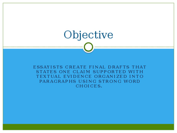Writers Workshop: Literacy Essay Unit: Lesson 10/17