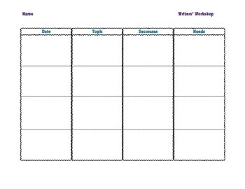 Writers' Workshop Monthly Conference Sheet