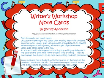 Writer's Workshop Note Cards