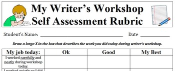 Writer's Workshop Self Assessment Rubric
