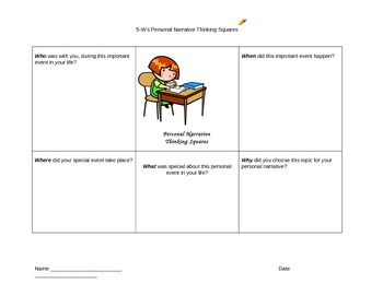 Personal Narrative 5-W's Pre-Writing Thinking Squares