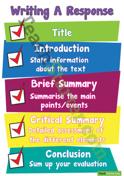 Writing A Response Text Poster