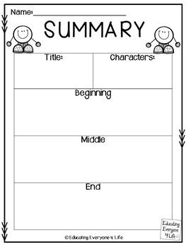 Writing A Summary {Free Graphic Organizer}