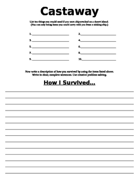 Writing Activity Castaway