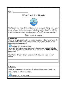 "Writing Activity Packet- ""Creating a Hook"" for an Interest"