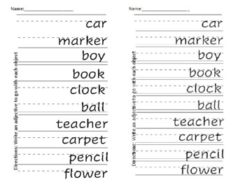 Writing Adjectives