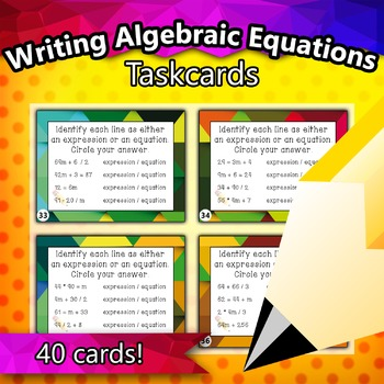 4.OA.1 - Writing Algebraic Equations and Expressions Taskcards