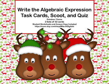 Writing Algebraic Expressions Task Cards,Scoot, and Quiz -