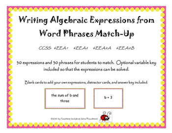 Writing Algebraic Expressions from Word Phrases Matching Activity