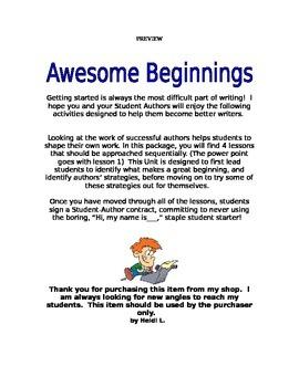 Writing Awesome Beginnings!  How do I start?