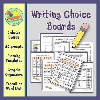 Writing Choice Boards - Prompts, Graphic Organizers & Tran