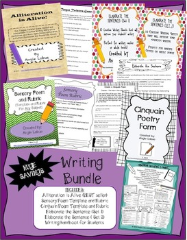 Writing Bundle: Handouts, Alliteration, Poetry, Rubrics and More