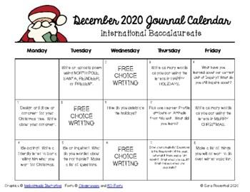 Writing Calendar - December 2016 & IB