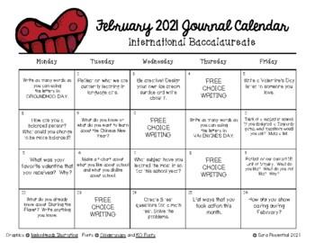 Writing Calendar -  February 2016 & IB